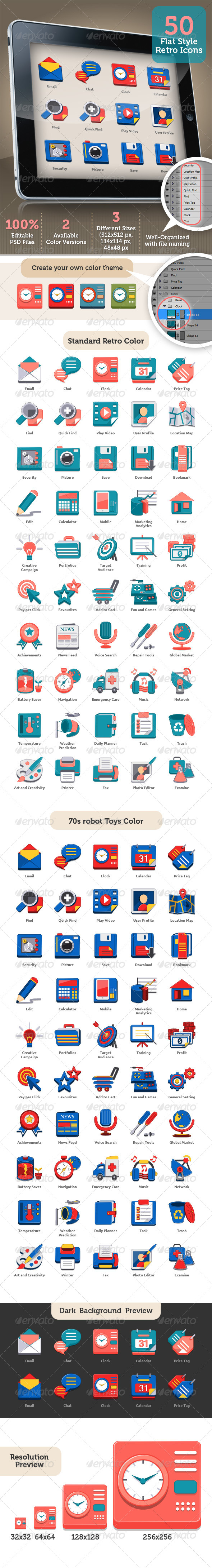 Fun And Flat Retro Style Icon Set For Any Purpose - Icons