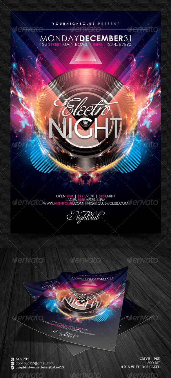 GraphicRiver Electro Night Flyer Template 5228130