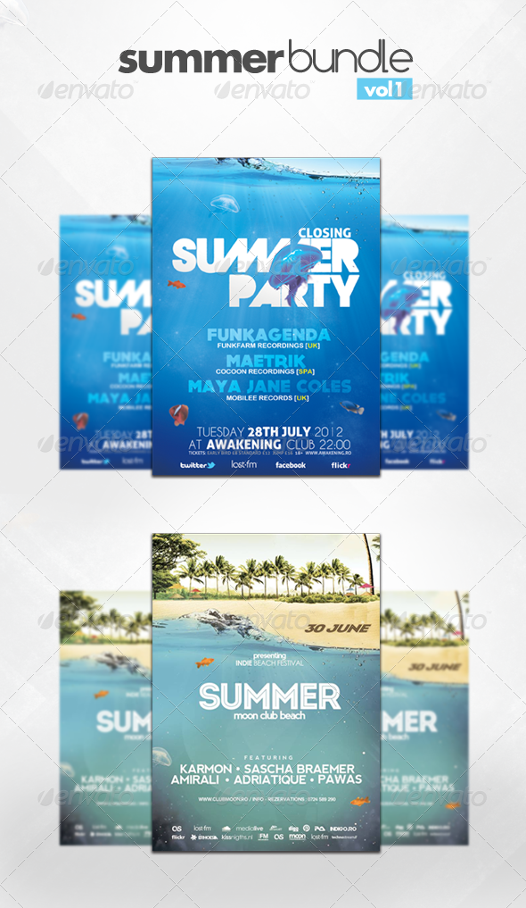 Summer Flyer Bundle Vol 1 - Clubs & Parties Events