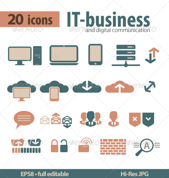 GraphicRiver IT-bisiness and Digital Communication Icons 5258824