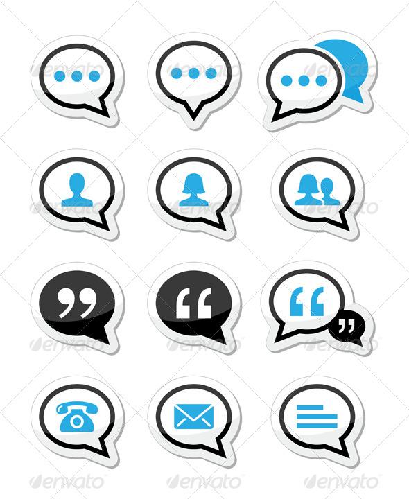 GraphicRiver Speech Bubble Blog Contact Vector Icons Set 5271960