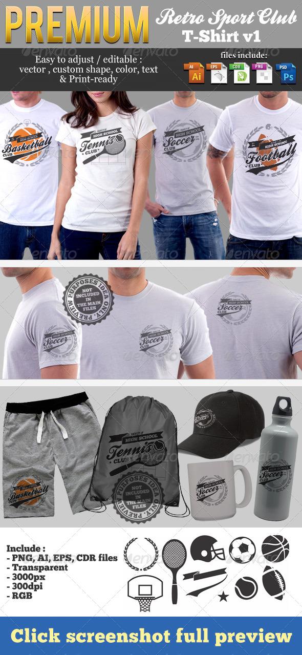 Retro Sport Club T-Shirt Template v1