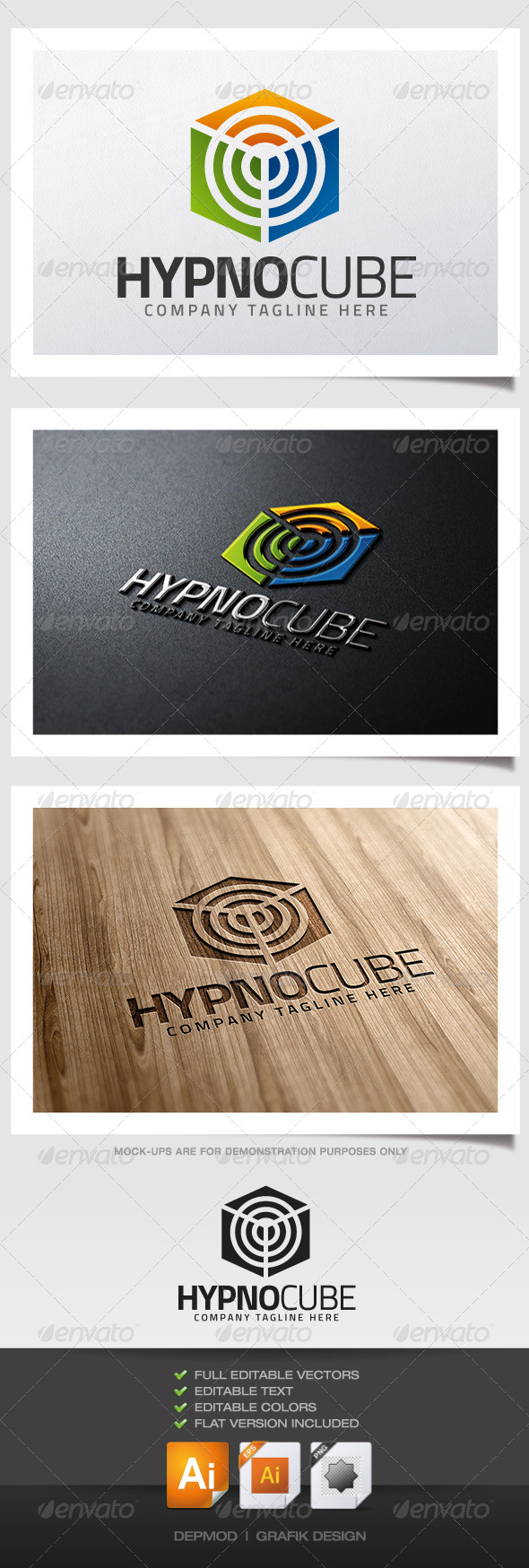 Hypno Cube Logo - Abstract Logo Templates