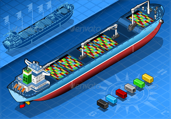 GraphicRiver Isometric Cargo Ship with Containers Isolated 5272063