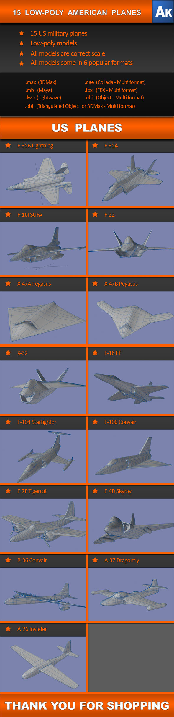 3DOcean 15 Low Poly US planes 541999