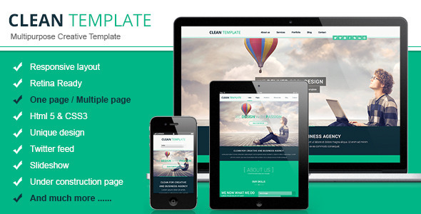 ThemeForest Clean Responsive Retina Ready Template 5272370