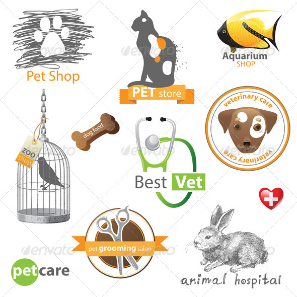 GraphicRiver Pets Icons and Design Elements 5272431
