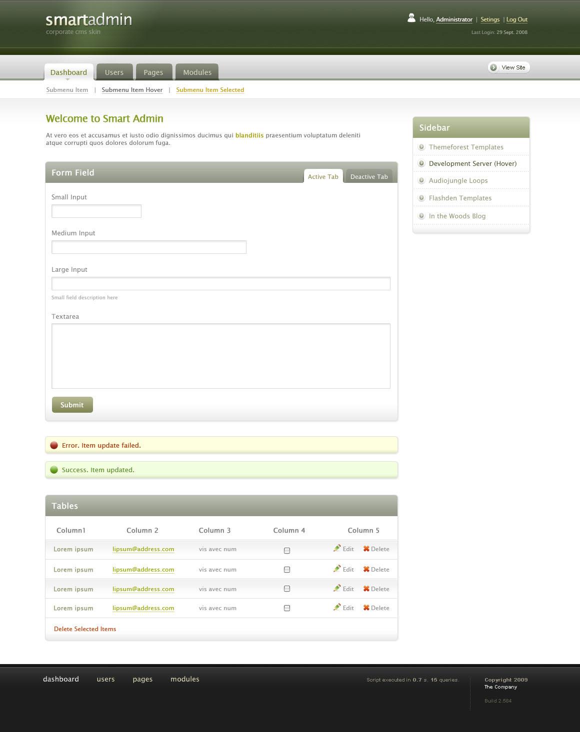 Smart Admin High End CMS Theme