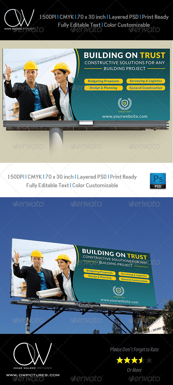 GraphicRiver Construction Business Billboard Template 5272785