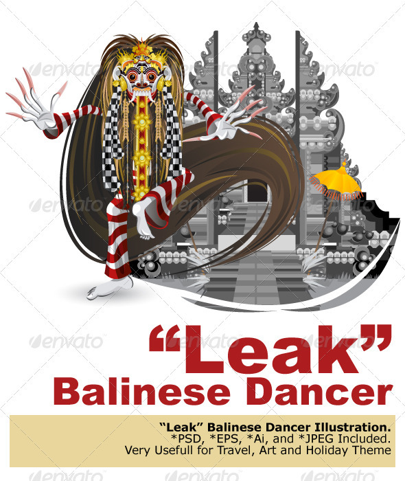Leak Traditional Bali Dance - Characters Vectors
