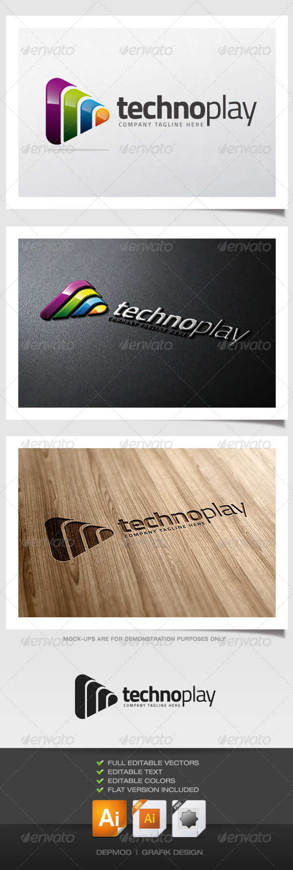 Techno Play Logo - Symbols Logo Templates