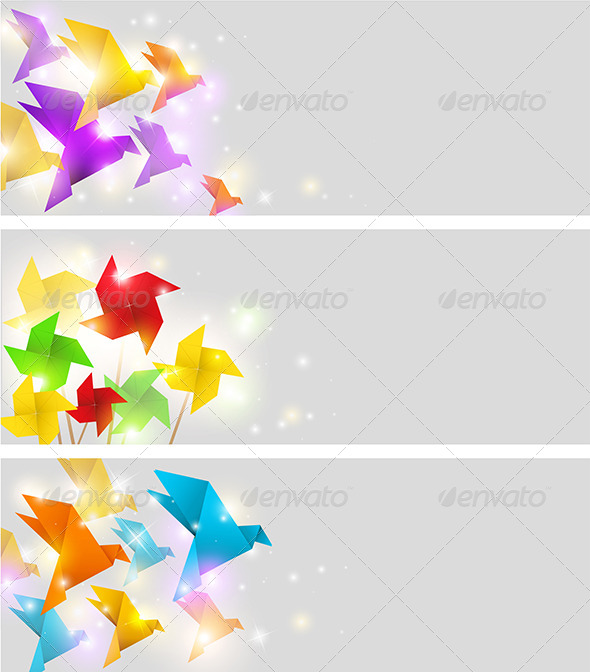GraphicRiver Banners with Origami 5273308