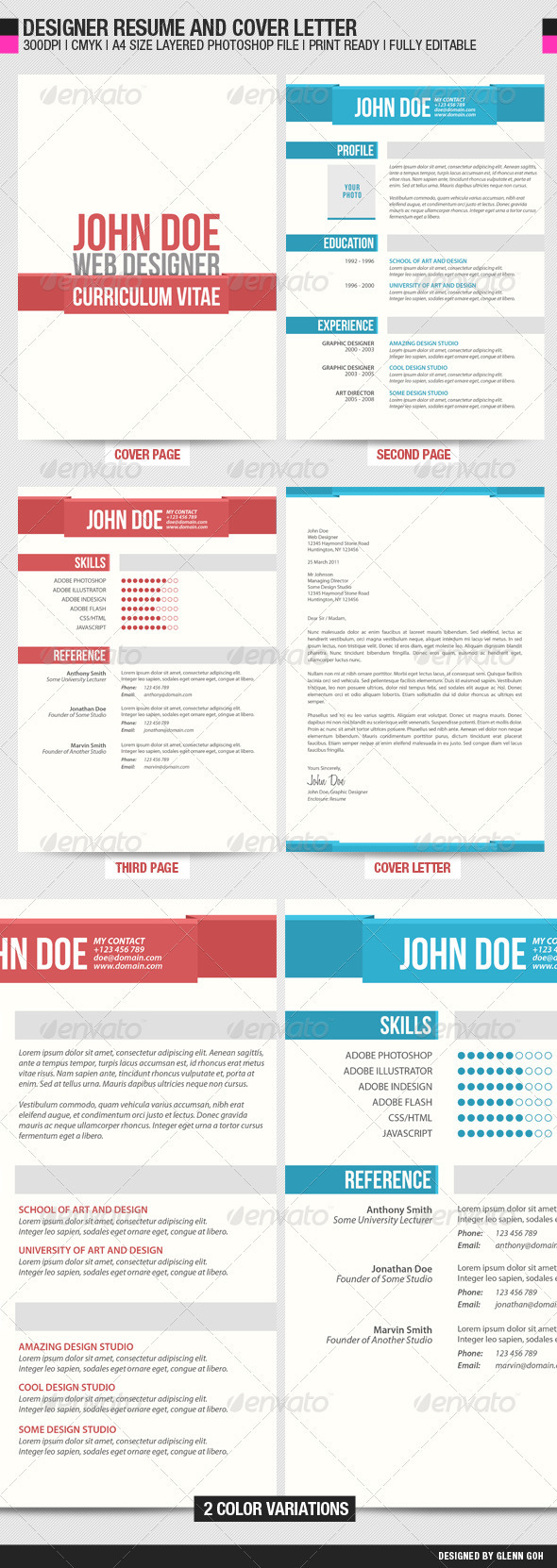 GraphicRiver Designer Resume and Cover Letter 542149