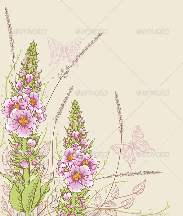 GraphicRiver Summer Floral Background 5273639