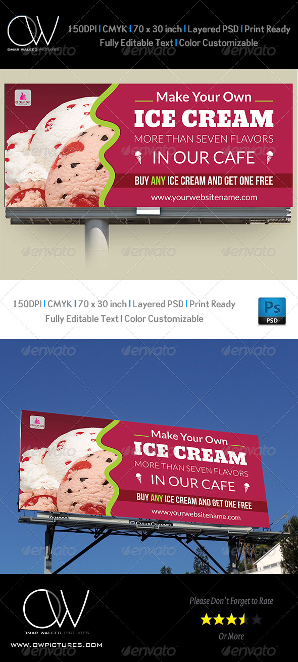 GraphicRiver Ice Cream Billboard Template 5273705