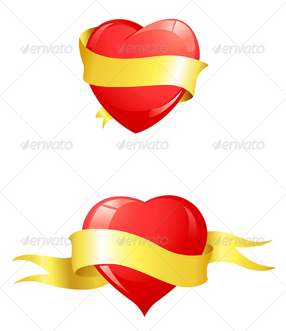 GraphicRiver Glossy Red Hearts with Yellow Ribbon 5273753