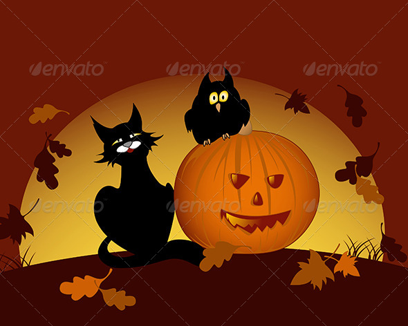 GraphicRiver Halloween Pumpkin and Black Cat 5273784