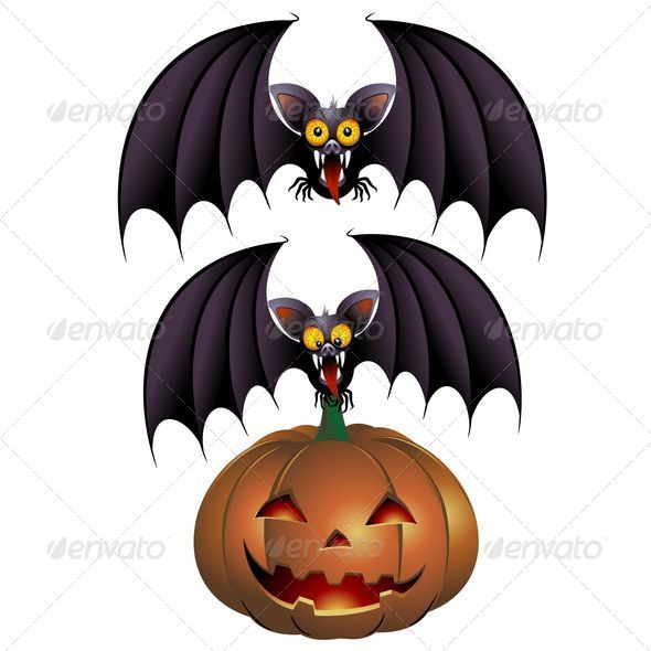 GraphicRiver Halloween Bat Cartoon and Pumpkin 5273795