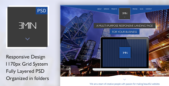 ThemeForest Emin Multi-Purpose PSD Landing Page 5262585