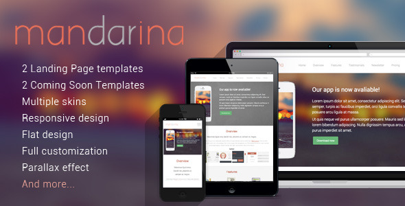 Mandarina, 4 in 1 Responsive Landing Page Template