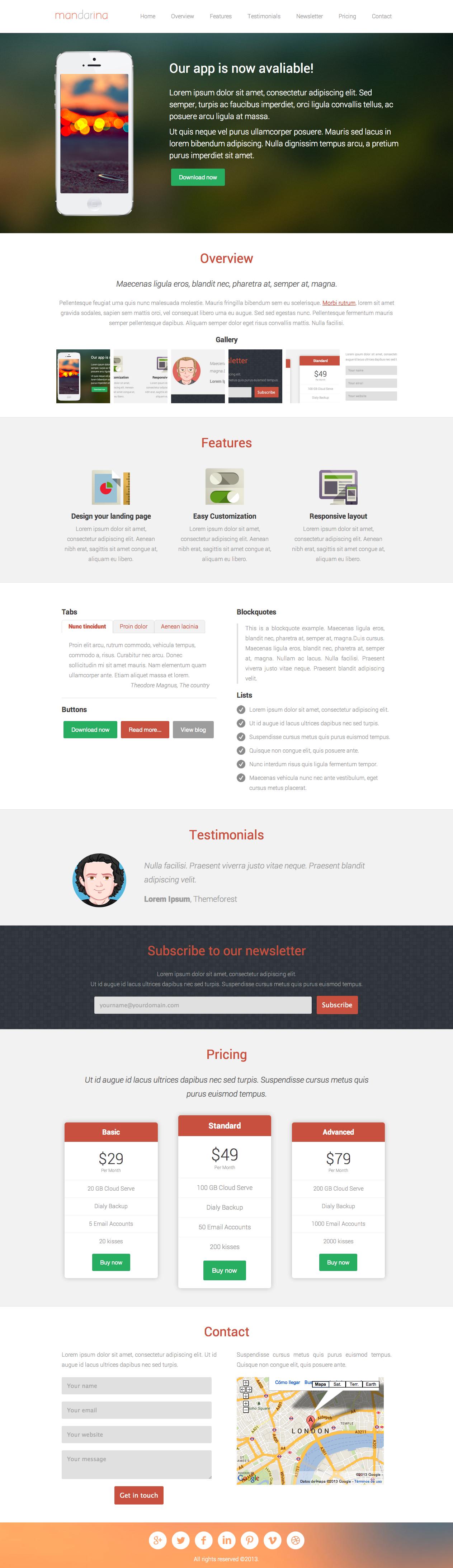 Mandarina - Landing Page Screenshot