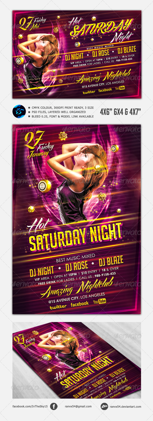 Hot Saturday Night Flyer Template - Clubs & Parties Events