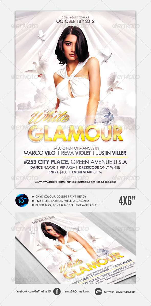 White Glamour Flyer - Clubs & Parties Events