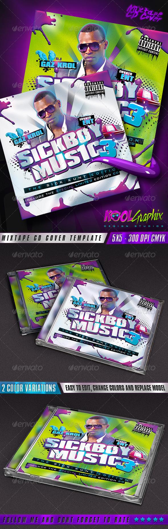 SickBoy Music - Mixtape CD Cover  - CD & DVD Artwork Print Templates