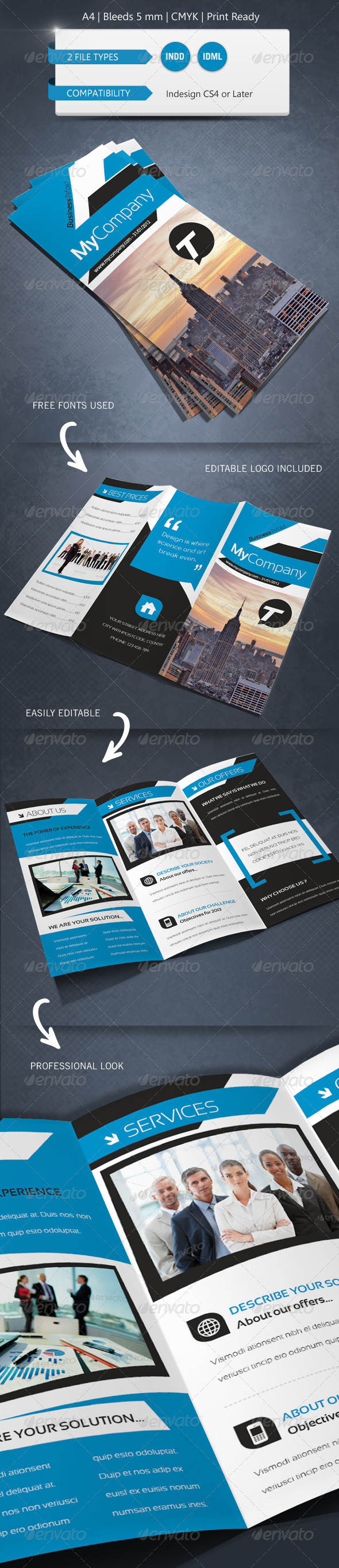 GraphicRiver Modern & Corporate Trifold Brochure Template 5274916