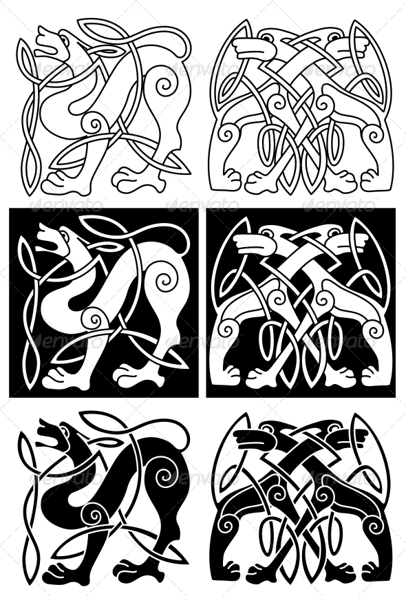 GraphicRiver Wolves and Dogs in Celtic Ornament 5275598