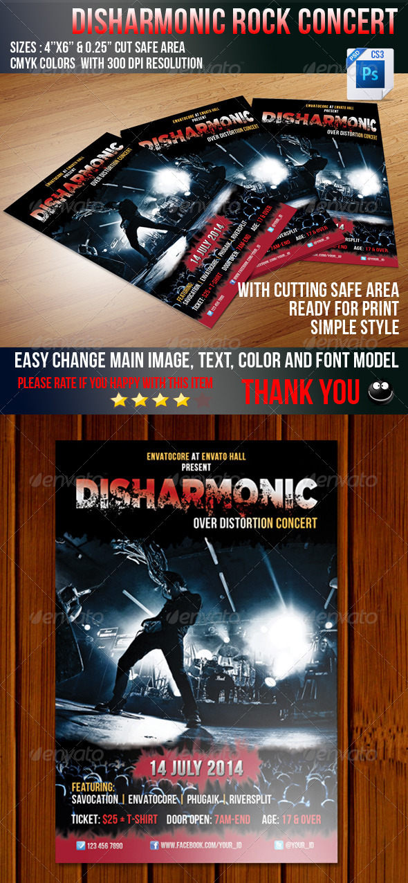 GraphicRiver Disharmonic Rock Flyer 5198821