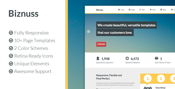 Biznuss: Responsive HTML5 Business Template
