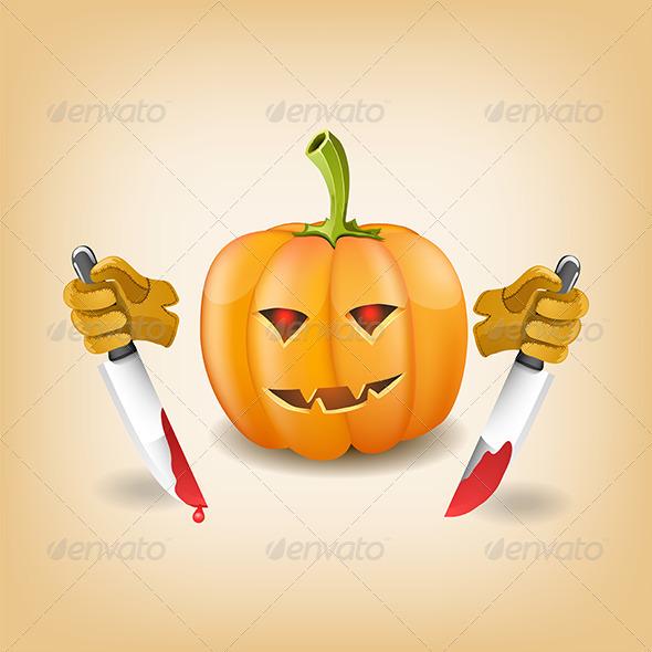 GraphicRiver Halloween Background with Killer Pumpkin 5276984
