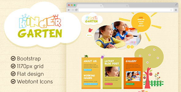 ThemeForest Kindergarten Bootstrap flat template 5255230