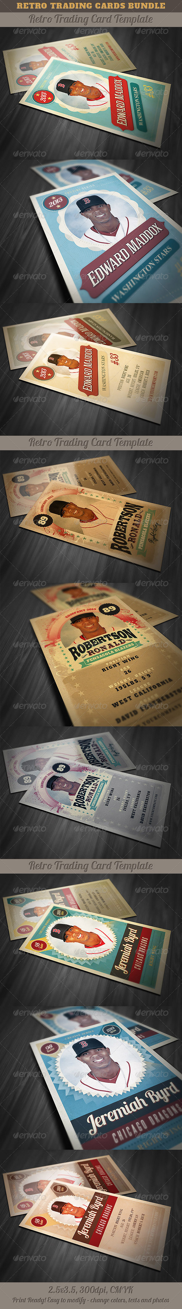 GraphicRiver Retro Trading Cards Bundle 5277095