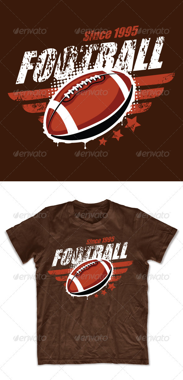 Grunge football T-shirt design