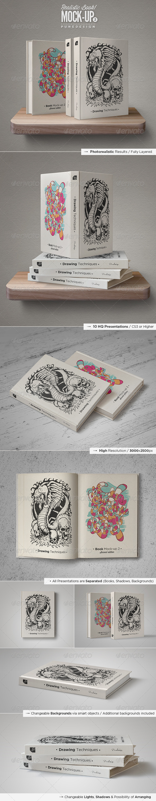 Book Mock-Up Set - 2 - Books Print
