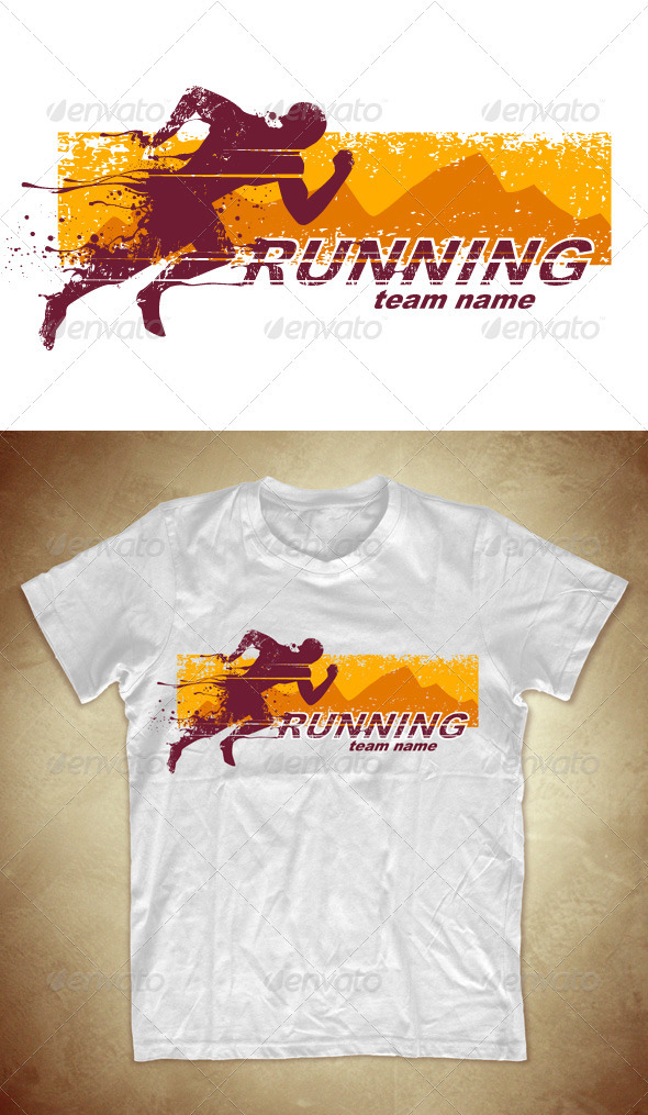 Grunge T-shirt design with running athlete - Sports & Teams T-Shirts