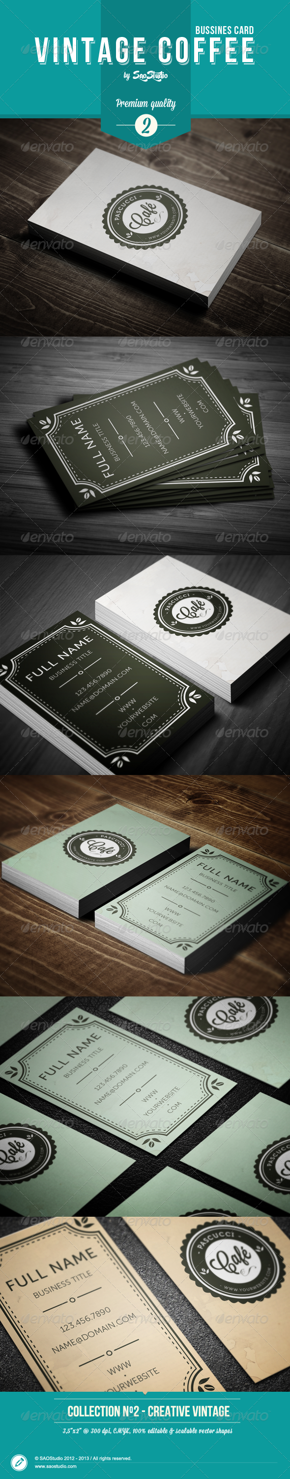 GraphicRiver Vintage Coffee Business Card 5195730