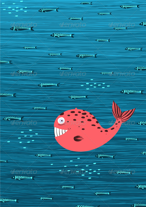 Pink Whale and Fish Underwater Background