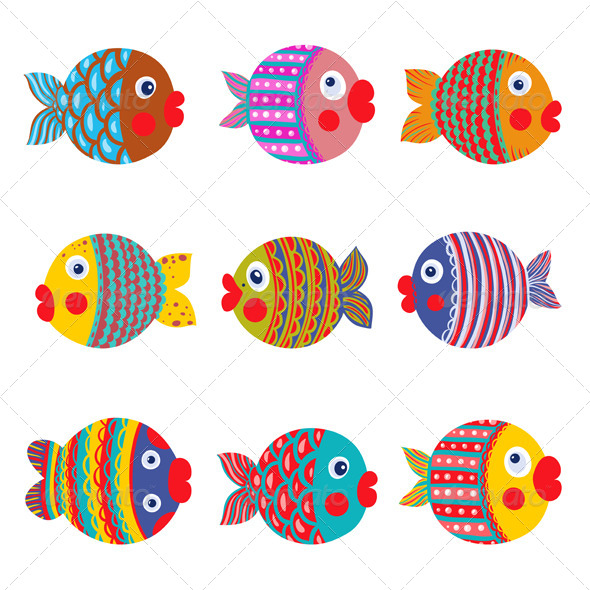 GraphicRiver Fish Collection Colorful Graphic Cartoon 5279245