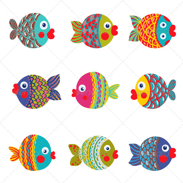 GraphicRiver Fish Collection Colorful Graphic Cartoon 5279282