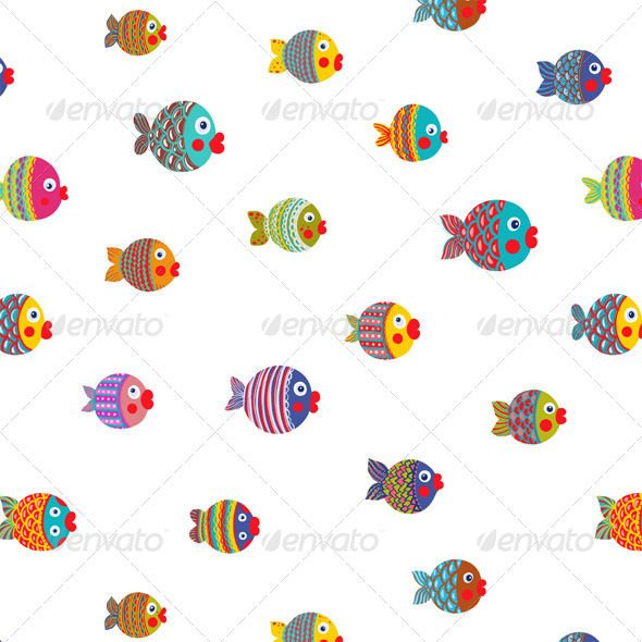 GraphicRiver Fish Shoal Bright Cartoon Seamless Pattern 5279288