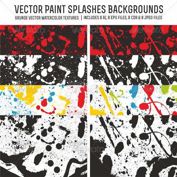 Vector Paint Splashes Backgrounds - Abstract Conceptual