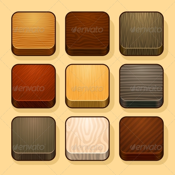 Set of Wood App Icons