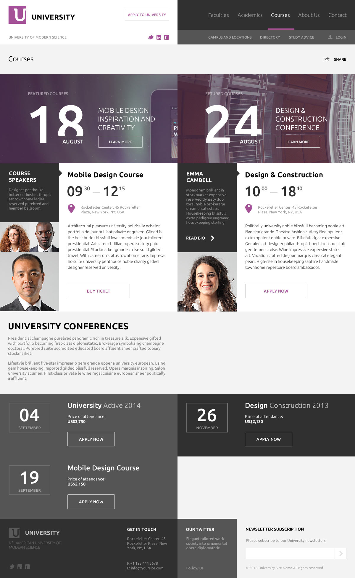 University – Education Flat UI PSD Template