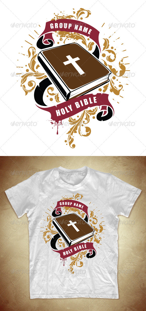 Grunge T-shirt design with Bible book - Church T-Shirts
