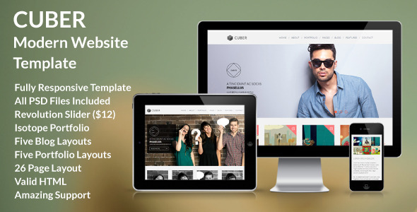 ThemeForest Cuber Modern Multipurpose Minimal Site Template 5281345