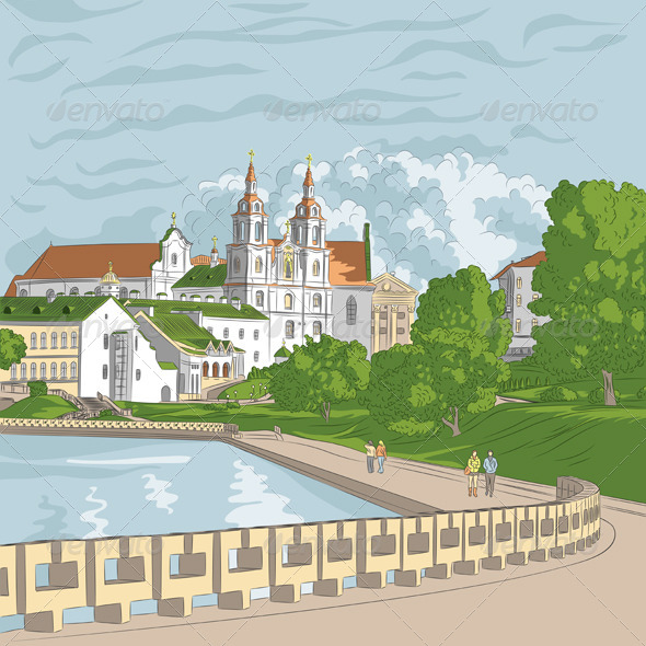 Vector Cityscape with Church and River - Buildings Objects