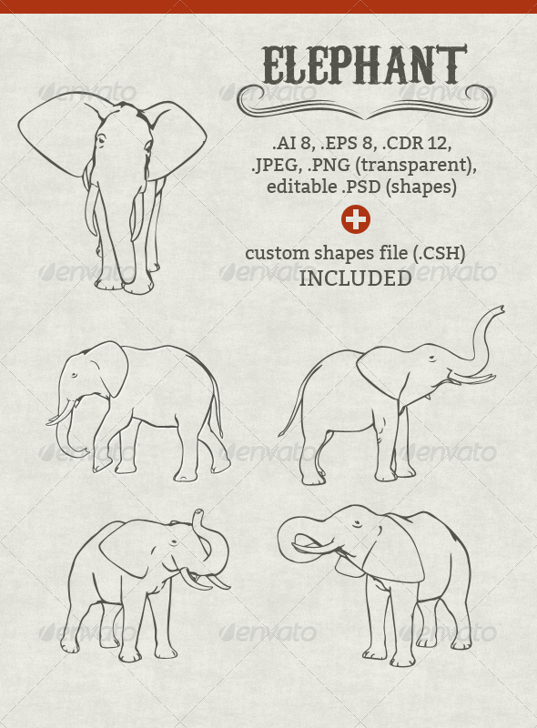 GraphicRiver Vector Elephant Set 5281737